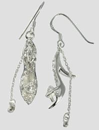 SilberDream Ohrhänger 925 Sterling Silber High Heels weiß SDO066W