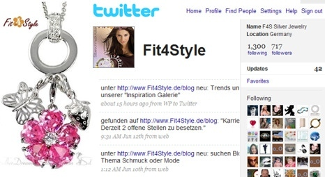Twitter Homepage - Fit4Style Silberschmuck jewellery