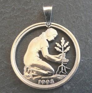 Kettenanhänger Schmuck - 50 Pfennig