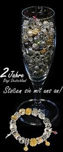 Silber Beads und Gold Beads im Glas